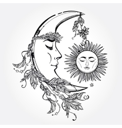 Crescent moon and sleeping sun vector