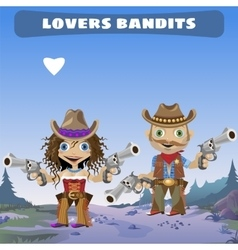 Fictional cartoon character - lovers bandits vector
