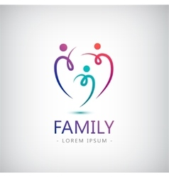 Abstract stylized family of 3 team lead vector