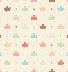 Retro seamless pattern color maple leaves and dots vector