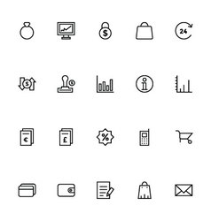 Trade outline icons 6 vector