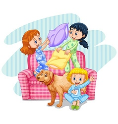 Three girls playing pillow fight on sofa vector