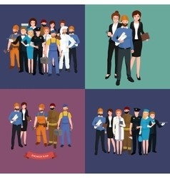 Set workers team profession people uniform vector