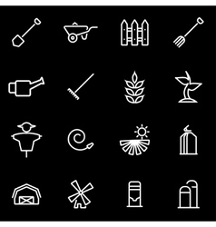 Line farming icon set vector