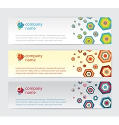 Three invitation cards with hexagon on background vector