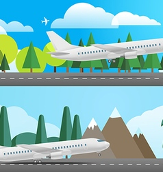 Aircraft in different countries flat design vector