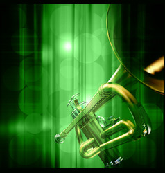 Abstract green music background with trumpet vector