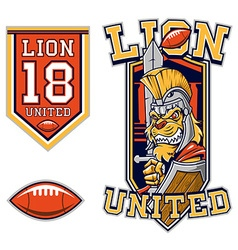 American football lion gladiator mascot vector