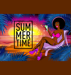Black girl with a cocktail on a beach summer vector