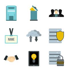 company data icons set cartoon style vector image