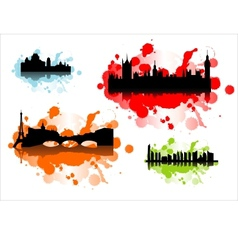 Detailed silhouettes of world cities vector image vector image