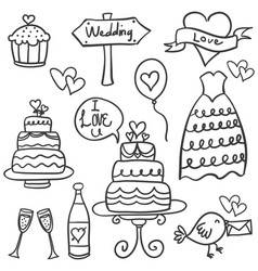 Doodle of wedding element hand draw vector