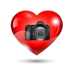Fully heart with photo camera vector