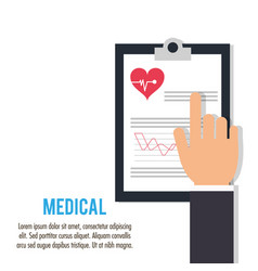 Hand with clipboard medical health care vector