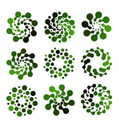 isolated abstract green color round shape logo set vector image vector image