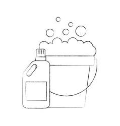 Laundry bucket with detergent bottle vector