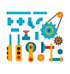 Machine parts different mechanism vector