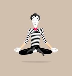 Mime performance - yoga meditating vector