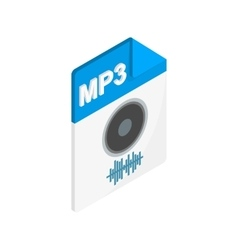Mp3 audio file extension icon isometric 3d style vector