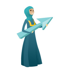 Muslim business woman with growth graph vector