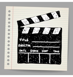 Old clapper board in doodle style vector