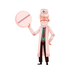 Old doctor in medical coat holding giant pill vector