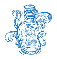pirate frigate in a green glass bottle outline vector image vector image