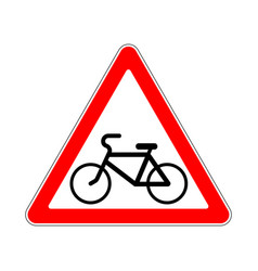 Road sign warning pathway bicyclist on white vector