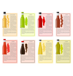 Sauce bottle collection with information text vector