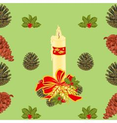 Seamless texture christmas candle with pinecones vector