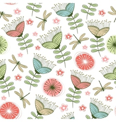 seamless vintage flower pattern line art vector image