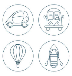 Set of 4 circles with cartoon transport vector