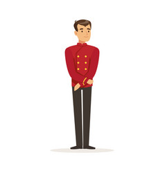 Smiling concierge or porter character wearing red vector