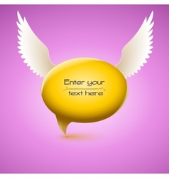 Speech bubble with wing vector image vector image