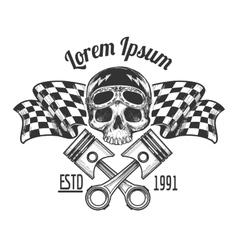 Vintage biker rider skull tattoo vector image vector image