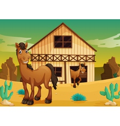house and horses vector image