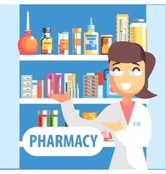 Woman pharmacist demonstrating drug assortment on vector