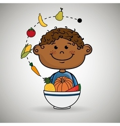 boy plate fruit vegetables vector image