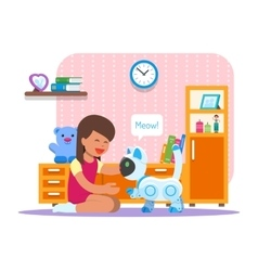 Girl playing with home cat robot Robotics vector image