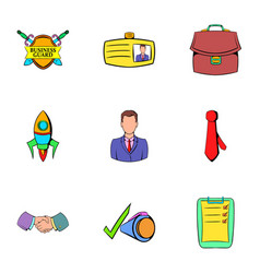 Business center icons set cartoon style vector
