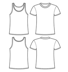 Singlet and t-shirt template vector