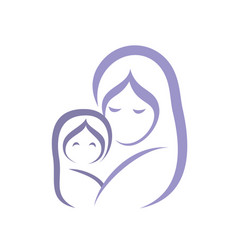 Mother and baby icon stylized symbol vector
