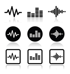 soundwave music icons set vector image