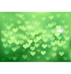 Green festive lights in heart shape background vector image