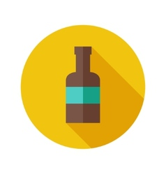 Flat modern round bottle icon vector