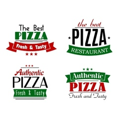 The best authentic pizza emblems vector