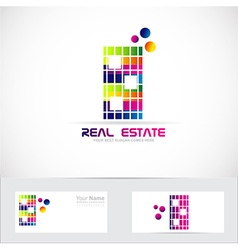 Real estate color building logo vector