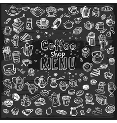 Hand drawn coffee set vector