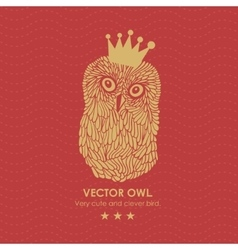 Print with cute and clever owl in crown vector