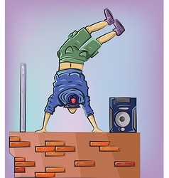 Breakdancer on the brick wall vector
